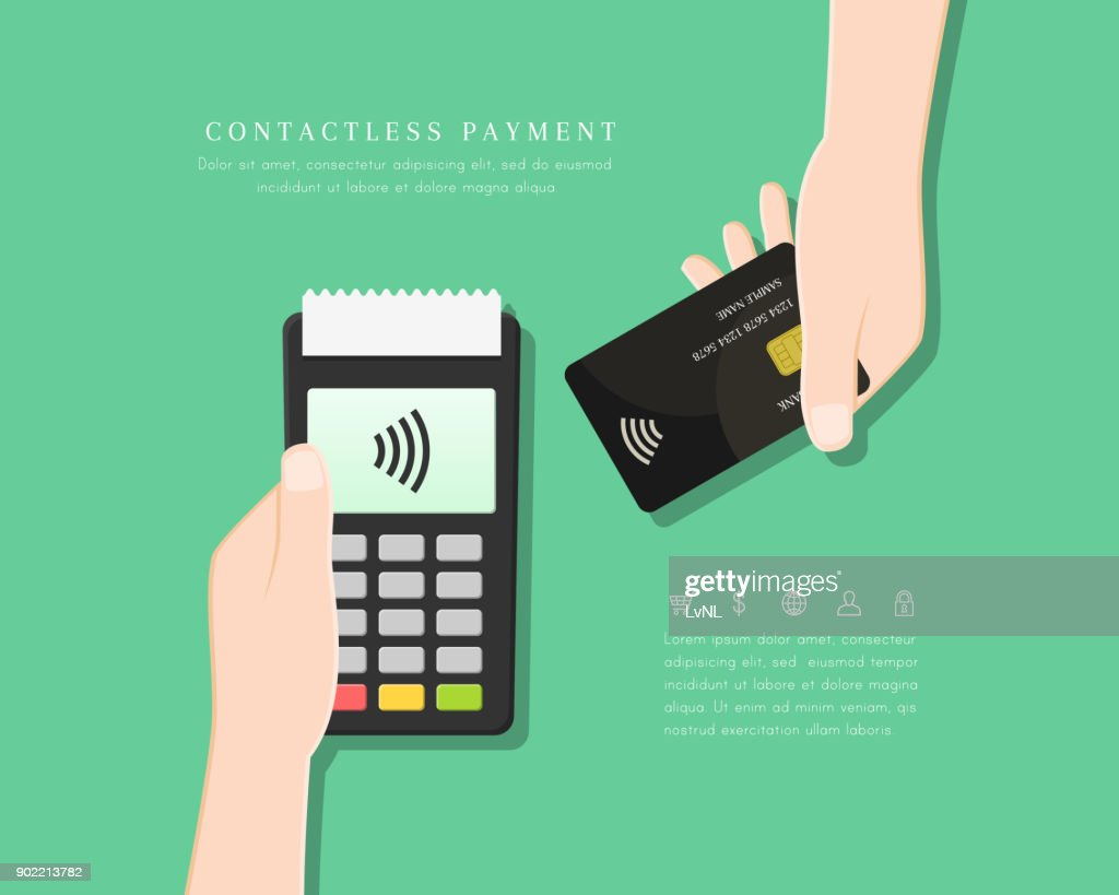 Contactless payment with POS terminal and hand holding card in flat design. Wireless and mobile transaction with NFC technology.