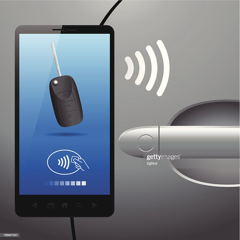 Contactless technology with car, bluetooth, NFC (near field communication) : stock illustration