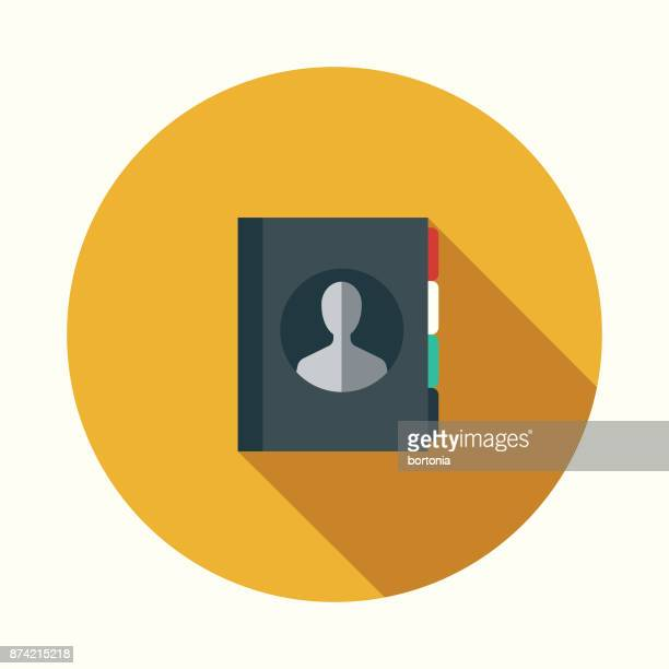 Contacts List Social Media Flat Design Icon with Side Shadow