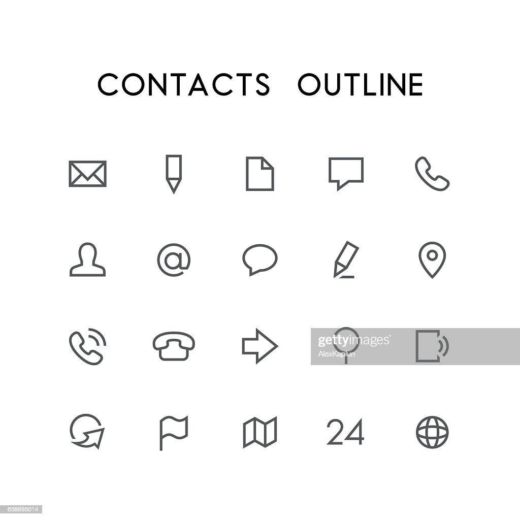 Contacts outline icon set