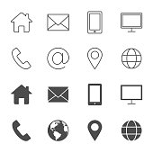 Contacts vector icons outline style an silhouettes