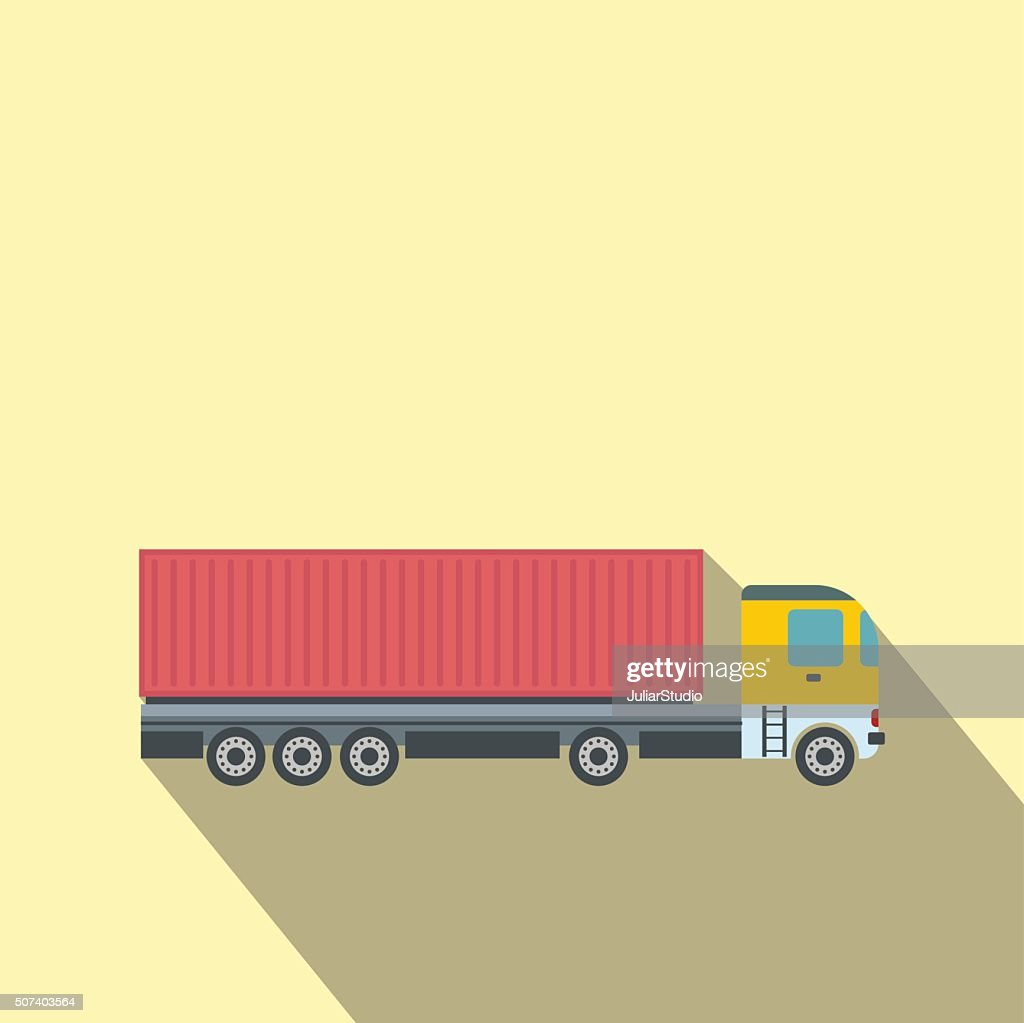 Container at the dock with truck flat