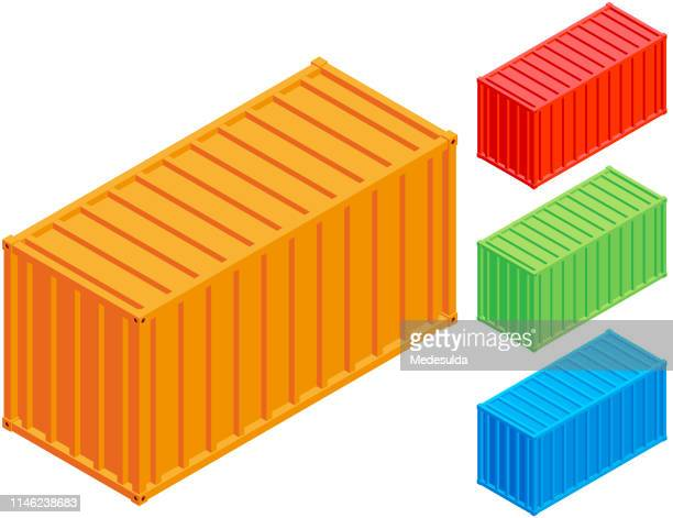 container isometric - container stock illustrations