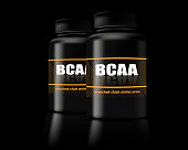 BCAA container. Set of branched chain amino acids. Sports nutrition with BCAA.
