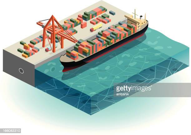 container ship in harbor - shipping stock illustrations