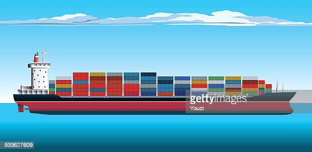 container ship - shipping stock illustrations