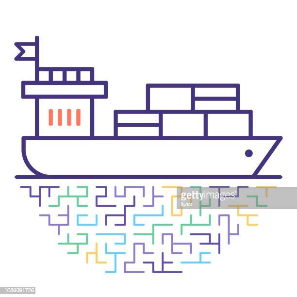 container ship vector line icon illustration - navy ship stock illustrations