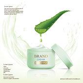 Container with cosmetic cream. Aloe vera leaf.