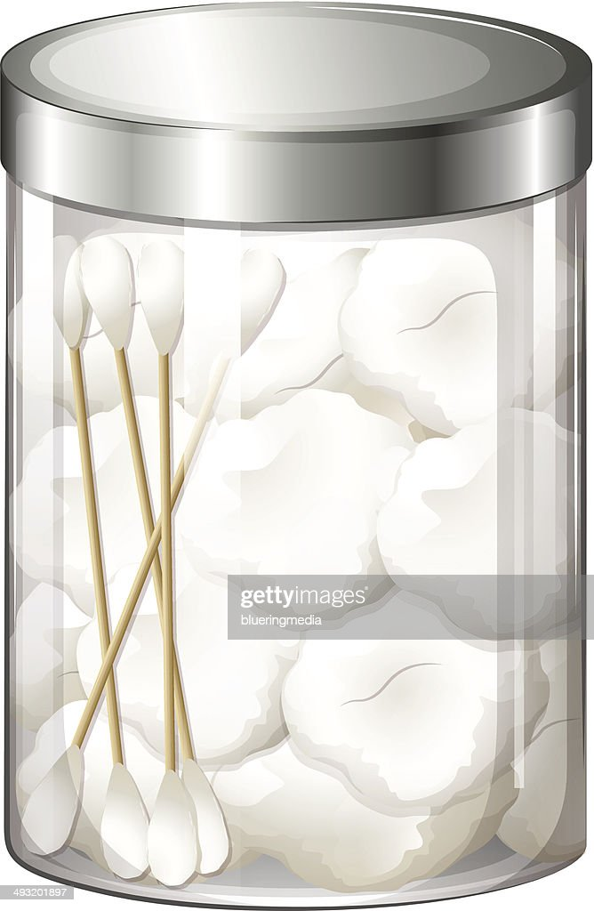 Container with cotton balls and cotton buds