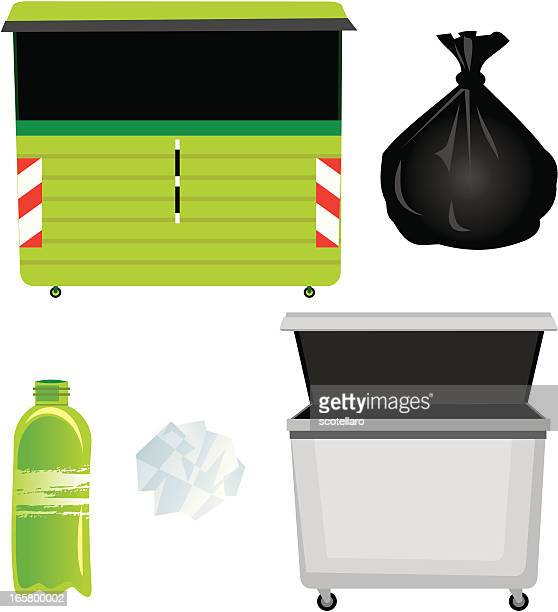 containers and garbage - bin bag stock illustrations