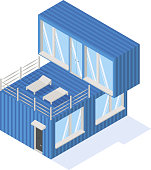 Containers house isometric icon