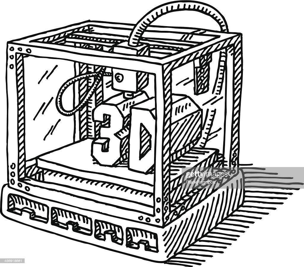 Contemporary 3D Printer Drawing : Vector Art