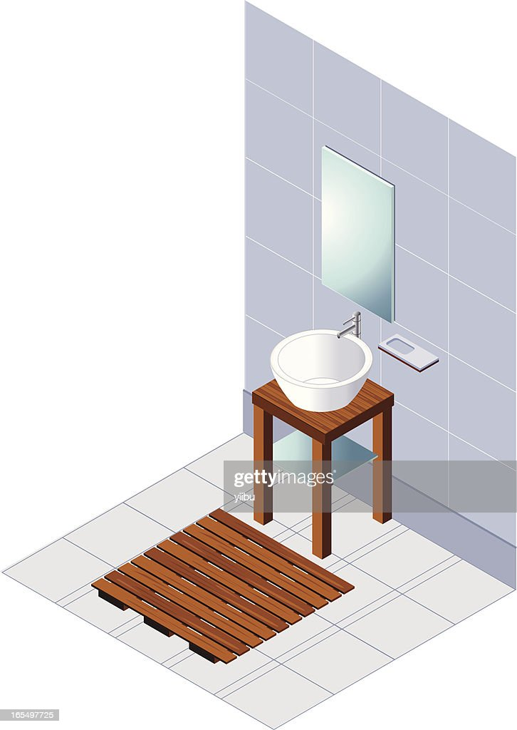 Contemporary blue isometric bathroom