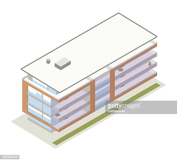 Contemporary lowrise building illustration