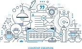 Content Creation Line Illustration