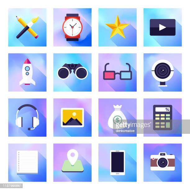 Content Creation & Sharing Holographic Gradient Style Vector Flat Icon Set