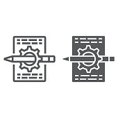 Content management line and glyph icon, development and business, seo sign vector graphics, a linear pattern on a white background, eps 10.