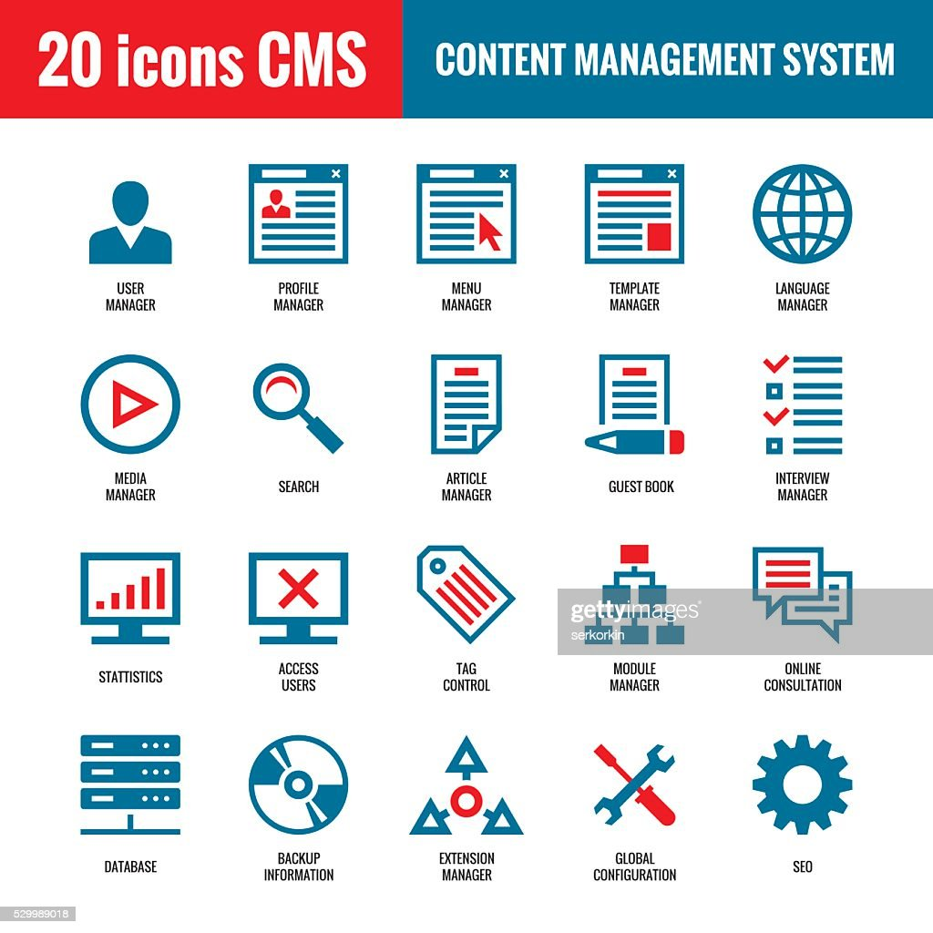CMS - Content Management System - 20 vector icons