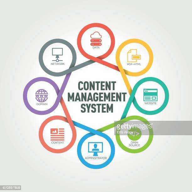 Content Management System infographic with 8 steps, parts, options