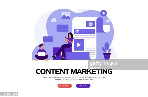 ilustrações, clipart, desenhos animados e ícones de ilustração vetorial do conceito de marketing de conteúdo para banner do site, material de publicidade e marketing, publicidade online, apresentação de negócios etc. - contente