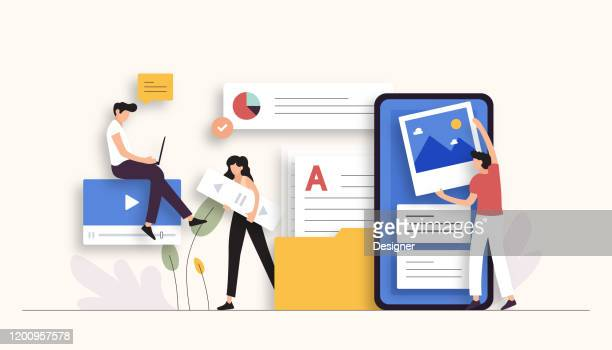 stockillustraties, clipart, cartoons en iconen met content marketing gerelateerde vector illustratie. plat, modern design - ontwikkeling