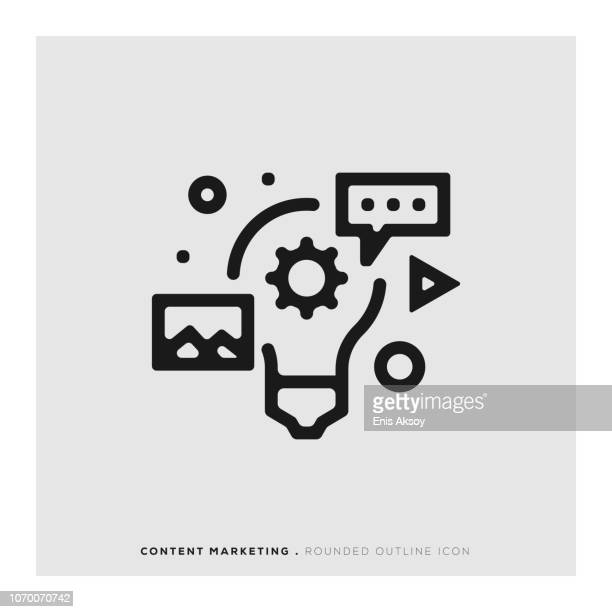 content marketing rounded line icon - customised stock illustrations