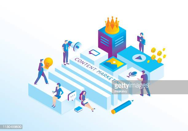 content marketing - marketing stock illustrations