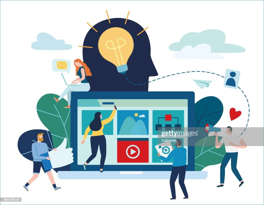 content strategy marketing vector illustration. social media advertising concept. small people working decorated laptop technology. flat cartoon design for banner mobile and web