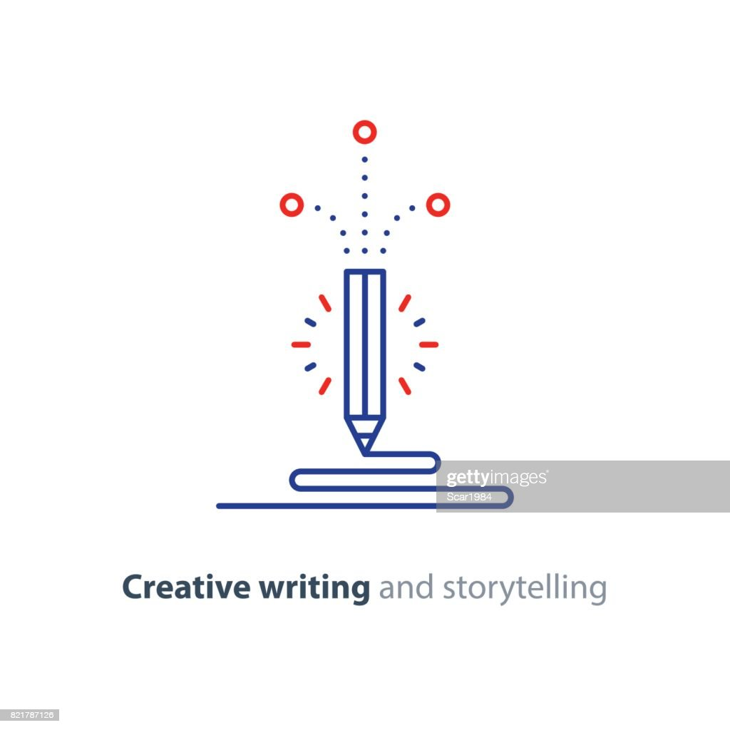 Content writing, creative story telling vector icon