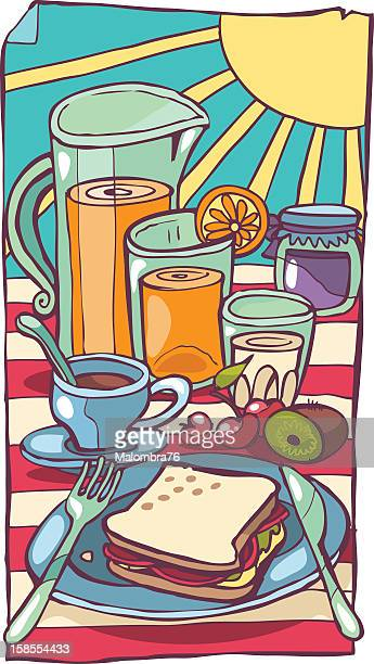 continental breakfast - juice drink stock illustrations, clip art, cartoons, & icons