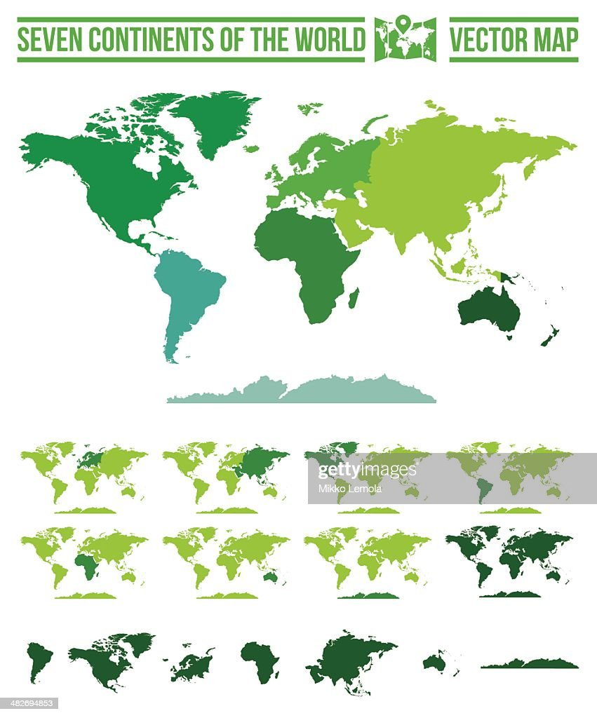 Continents World Map - Vector And Path