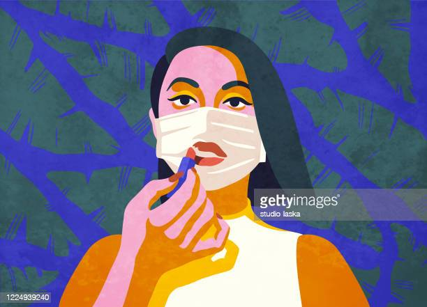 continuing her beauty regiment while staying at home. concept of self care and makeup routine in the age of isolation and social distancing. - editorial stock illustrations