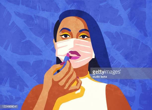ilustraciones, imágenes clip art, dibujos animados e iconos de stock de continuando su regimiento de belleza mientras se queda en casa. concepto de autocuidado y rutina de maquillaje en la era del aislamiento y el distanciamiento social. - pintalabios