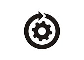 Continuous development. Simple icon in black and white.