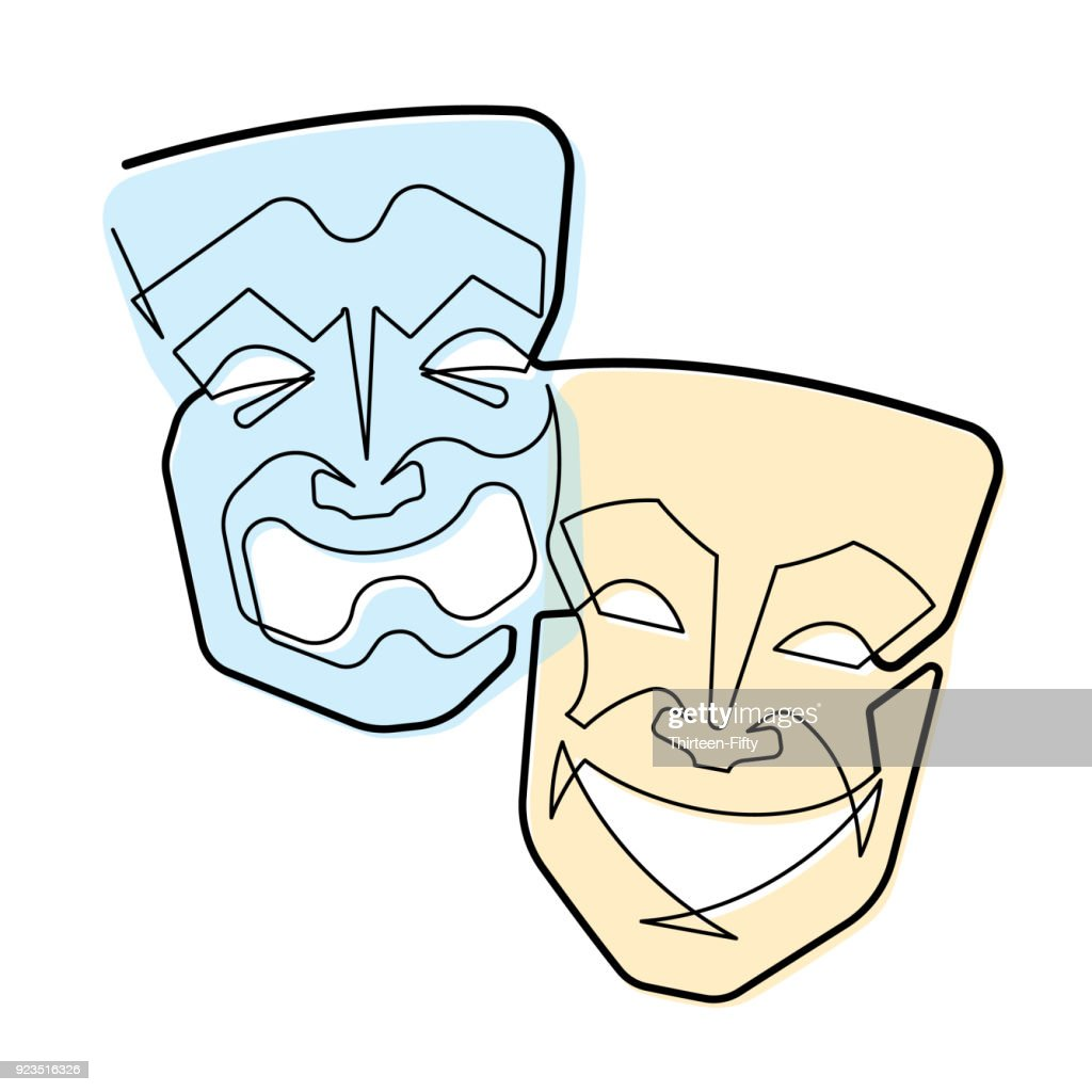 Continuous Line Comedy and Tragedy Masks