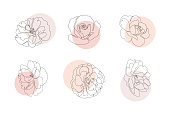 Continuous line flowers set with abstract circles. Trendy single line botanical illustration for print or web. Rose outline vector