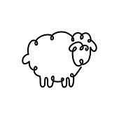 continuous one line drawing of sheep