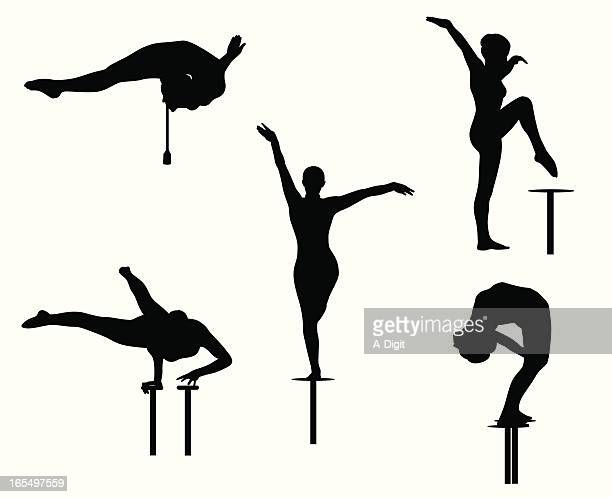 contortionist vector silhouette - gymnastics stock illustrations, clip art, cartoons, & icons