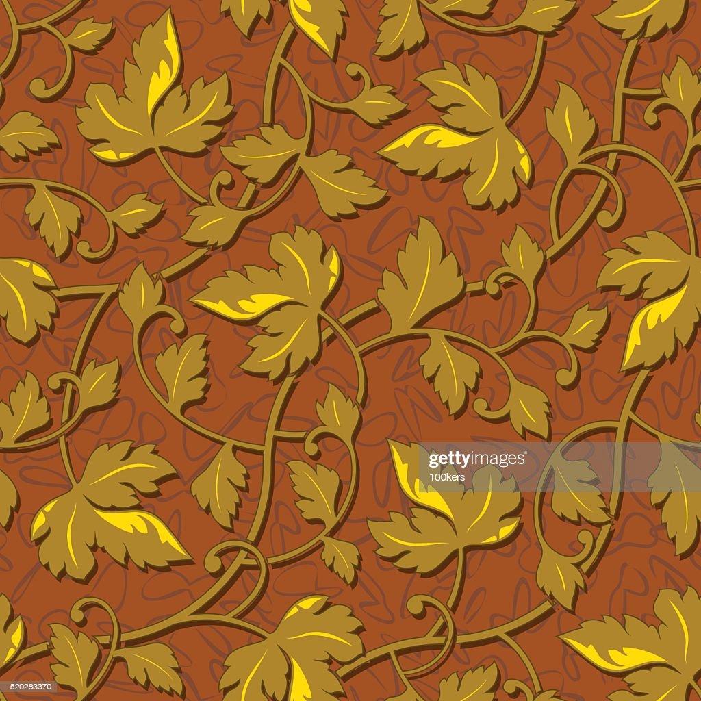 contour autumn gold leaf seamless