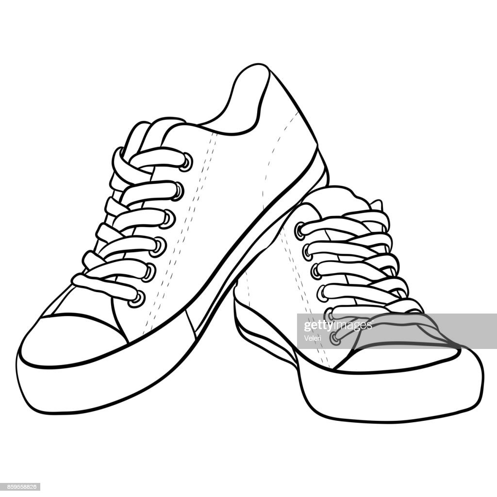 Contour black and white illustration of sneakers.