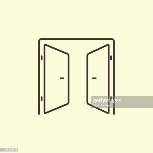 contour doors - door stock illustrations