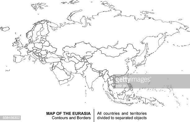 contour eurasia map - eurasia stock illustrations