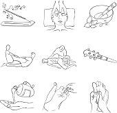 Contour handdrawn thai-massage icon set
