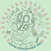 contour illustration_15_for the design of various objects of human life, the theme for world environment day