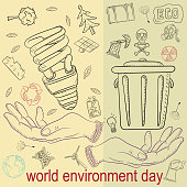 contour illustration_31_for the design of various objects of human life, the theme for world environment day