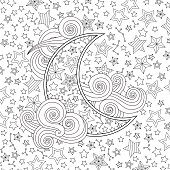 Contour image of moon crescent clouds, stars in inspired doodle style.