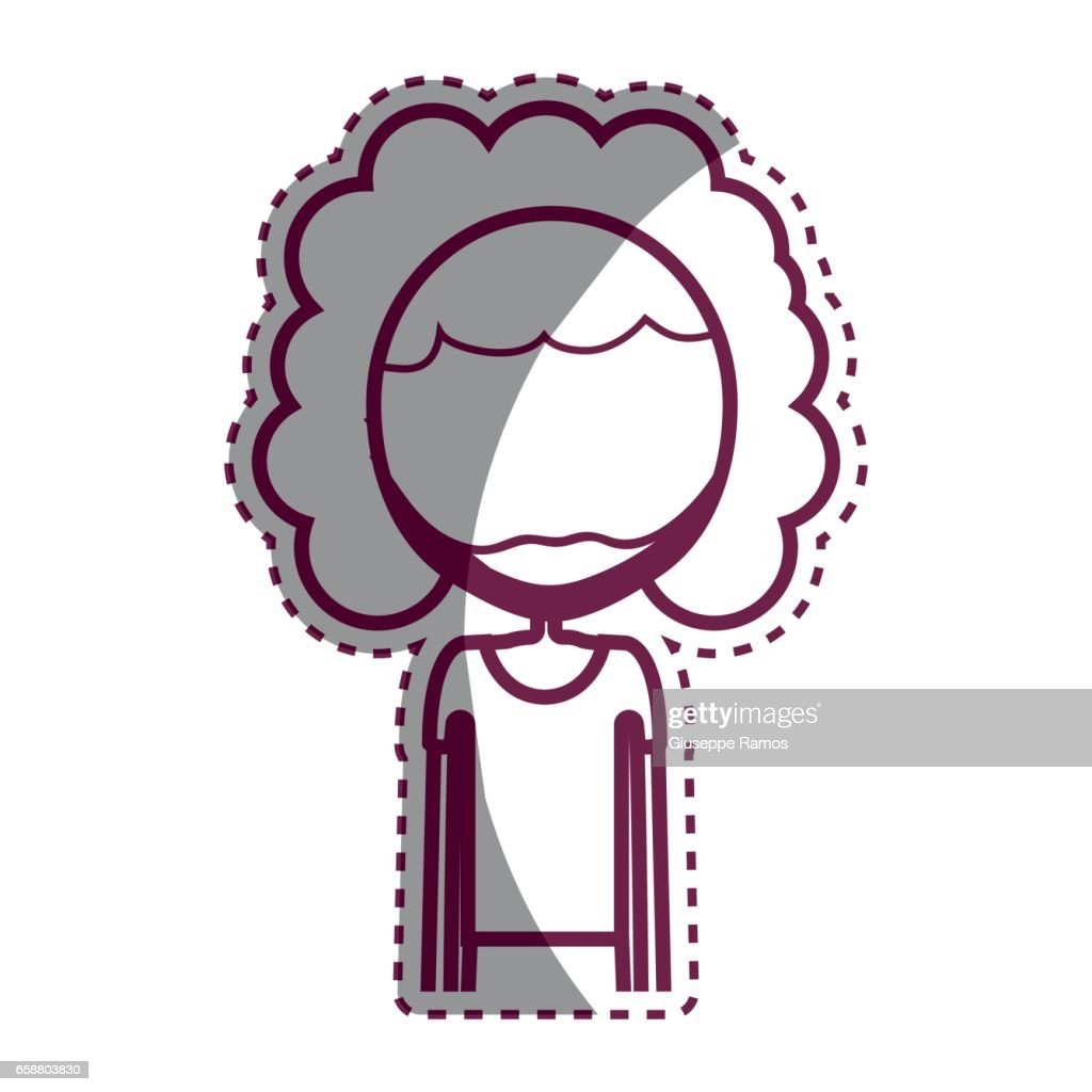 Contour Man With Curly Hair Icon Vector Art Getty Images