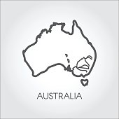 Contour map of Australia with lines of some rivers. Silhouette of country in outline style. Vector icon