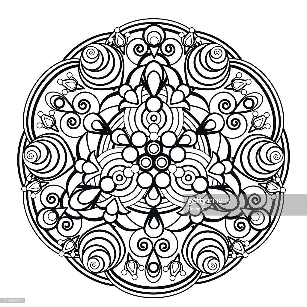 contour, monochrome Mandala. ethnic, religious design element. Anti-paint for adults