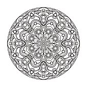 contour, monochrome Mandala. ethnic, religious design element. Anti-paint for adults